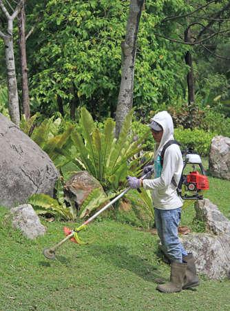 lawn mowing: Kuala Lumpur, Malaysia - April 2, 2015: lawn mower man is doing his work in botanical garden of Kuala Lumpur, Malaysia