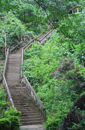 curving: curving stone staircase in Vang Vieng, Lao