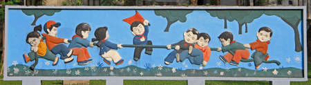 vietnam war: funny picture on the street in Hanoi, Vietnam Stock Photo