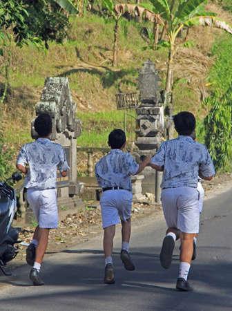habbit: a few people are running, island Bali, Indonesia
