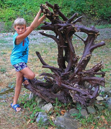 krasnodar: boy with interesting dry tree, Krasnodar krai