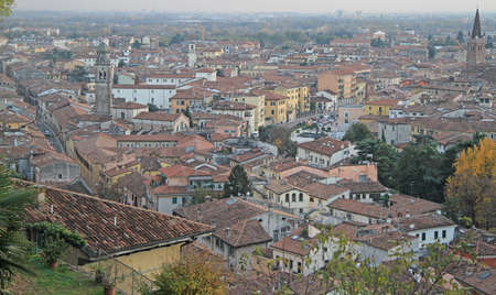 panoramic roof: aerial view of Verona, Italy, autumn landscape Stock Photo