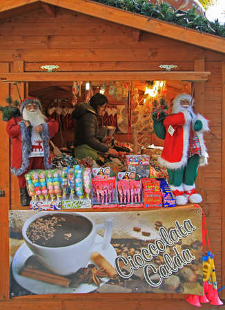 Bergamo, Italy - December 2, 2015: stand with christmas sweeties at the fair in Bergamo, Italy