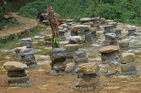 millstone: public place for discussion in CatCat village, the northern Vietnam Stock Photo