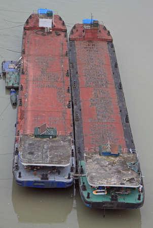 shipper: two empty container ships on river Yangtze in Chongqing, China Stock Photo