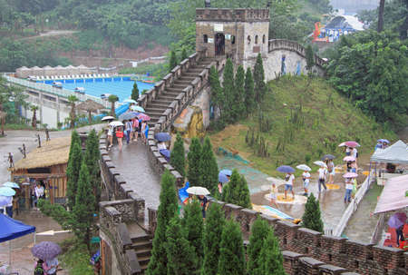 muralla china: miniature of the great chinese wall in park of Chongqing, China