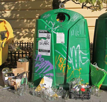 trash container: Brno, Czech - November 2, 2015: big green trash container for glass in Brno, Czech