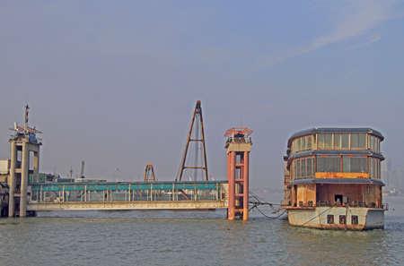 wuhan: yangtze river and dock in Wuhan, China