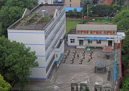 stool test: Wuhan, China - June 23, 2015: soldiers are taking examination outdoor in Wuhan, China