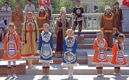 ulan ude: Ulan Ude, Russia - July 10, 2015: girls are performing at festival of small peoples of the North in Ulan Ude, Russia