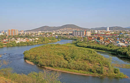 river Selenga and cityscape of Ulan Ude, Russia Stock Photo