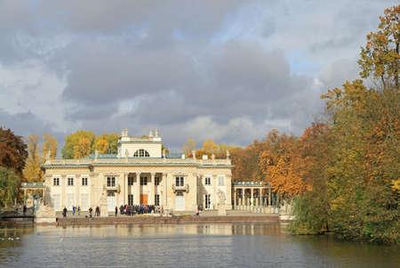 lazienki: Warsaw, Poland - October 23, 2015: Lazienki Palace in Warsaw in Poland, autumn view