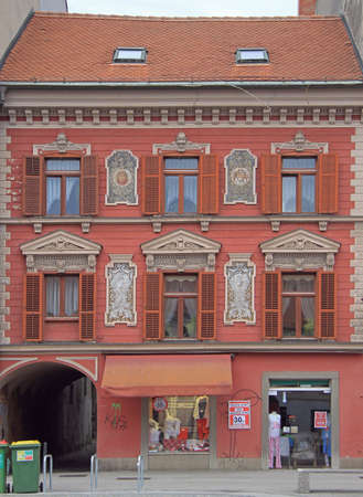 nearly: building nearly town hall with interesting facade in Maribor, Slovenia Editorial