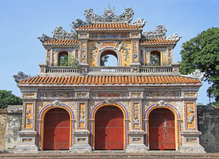hue: Hue, Vietnam - May 27, 2015: Structures of Hue Citadel Complex in Hue, Vietnam Editorial