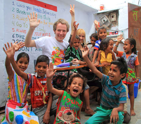 freewill: Jaipur, India - February 24, 2015: children are visiting center for education in Jaipur, India