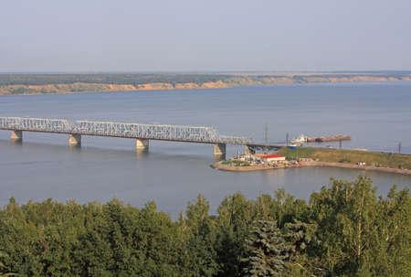 The Imperial Bridge across the Volga River in Ulyanovsk, Russia