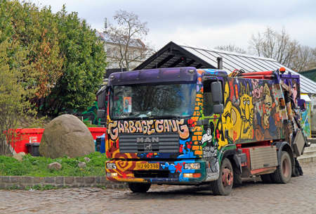 dumptruck: Copenhagen, Denmark - April 27, 2017: painted garbage truck in freetown Christiania Copenhagen