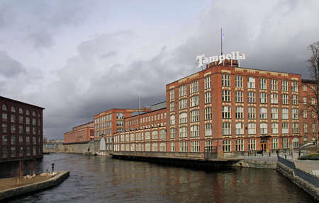 Tampere, Finland - April 7, 2017: buildings of old linen factory Tampella which is no longer in operation in Tampere, Finland