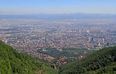 aerial view of bulgarian capital Sofia from the top of vitosha mountain Stock Photo
