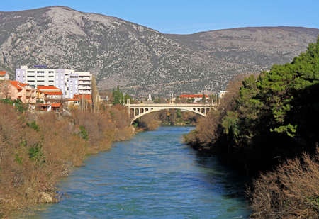 Lucki bridge over river Neretva in city Mostar, Bosnia and Herzegovina