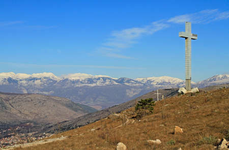 Huge cross on Hum Mountain in Mostar, Bosnia and Herzegovina