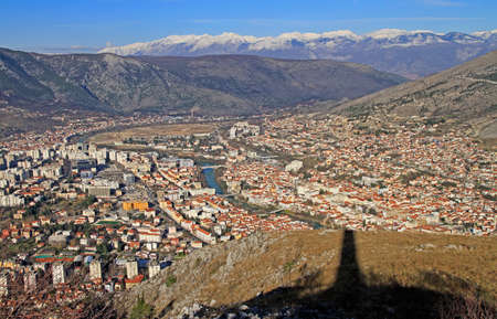 view of city Mostar from hill Hum, Bosnia and Herzegovina