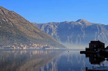 view of village Perast from the other side, Montenegro Stock Photo
