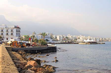 seaside in city Kyrenia, turkish controlled area of Cyprus Archivio Fotografico