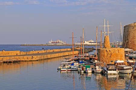 Kyrenia, Cyprus - November 18, 2017 historical harbour of Kyrenia Cyprus