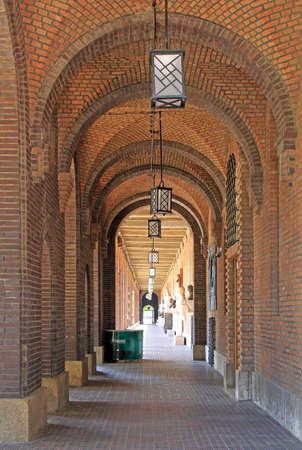 Passway between wall and pillars in Szeged, Hungary