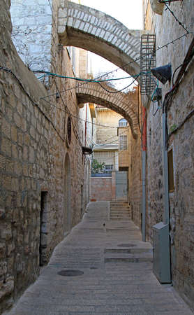 narrow street in the old town of Jerusalem, Israel