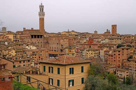 the cityscape of italian city Siena in region Tuscany