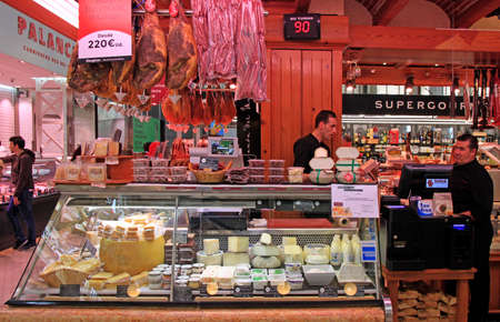 Valencia, Spain - April 26, 2018: stall with meat at central market in Valencia, Spain