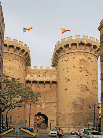 Valencia, Spain - April 25, 2018: Towers of Quart in the spanish city Valencia