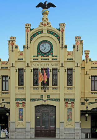 Valencia, Spain - April 25, 2018: facade of northern train station in spanish city Valencia