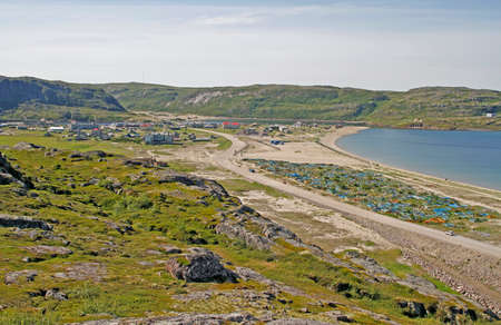 the old part of Teriberka village in Murmansk region, Russia