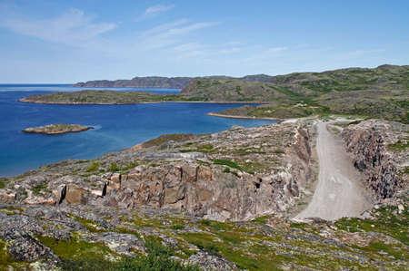 the stony landscape at russian village Teriberka in Murmansk region