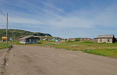 the old part of Teriberka village in Murmansk region, Russia Stock Photo