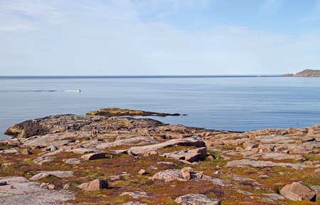 the scenery coastline nearby russian village Teriberka, Murmansk region Stock Photo
