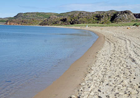 Sandy beach in village Teriberka on the north of Russian Federation Stock Photo
