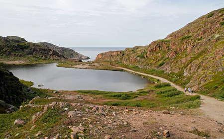 Scenery landscape nearby russian village Teriberka in Murmansk region Stock Photo