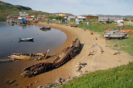 harbour in village Teriberka in Murmansk region of Russia