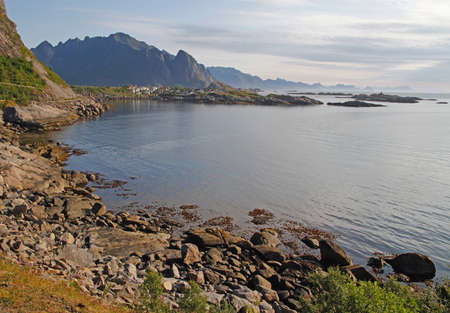 panoramic view of the coast at Lofoten islands