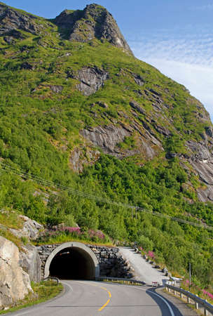 the road tunnel on Lofoten islands in the northern Norway Stockfoto