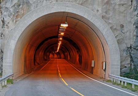 the road tunnel on Lofoten islands in Norway