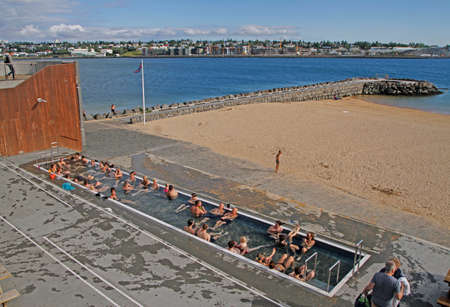 public pool with free access at beach in Reykjavik