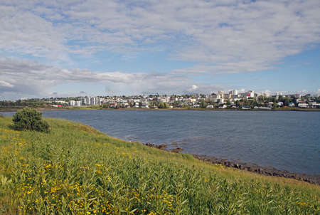 the shore line in the icelandic city Reykjavik Stock Photo