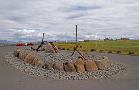 interesting monument of two anchors in Reykjavik Stock Photo