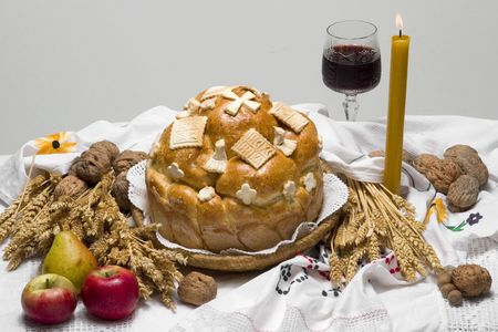 justinian: Orthodox Serbian religious cake with red wine and candle