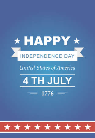 Bright vector for the Independence Day. 4th of July Celebration in America. United States of America. Symbol feast of stars blue and red background. Beautiful poster with typography. Illustration